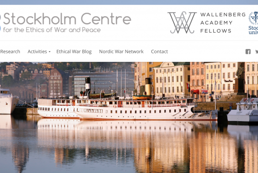Screenshot from the webpage of  The Stockholm Centre for the Ethics of War and Peace.